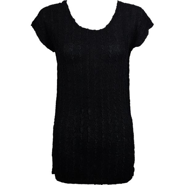 Magic Crush Georgette - Cap Sleeve Tunic* Solid Black  - One Size  Fits (S-M)