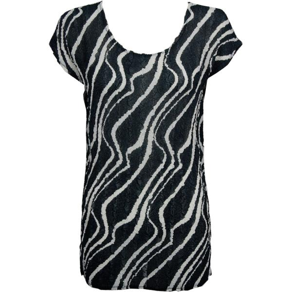 Magic Crush Georgette - Cap Sleeve Tunic* Ribbon Black-White - One Size  Fits (S-M)