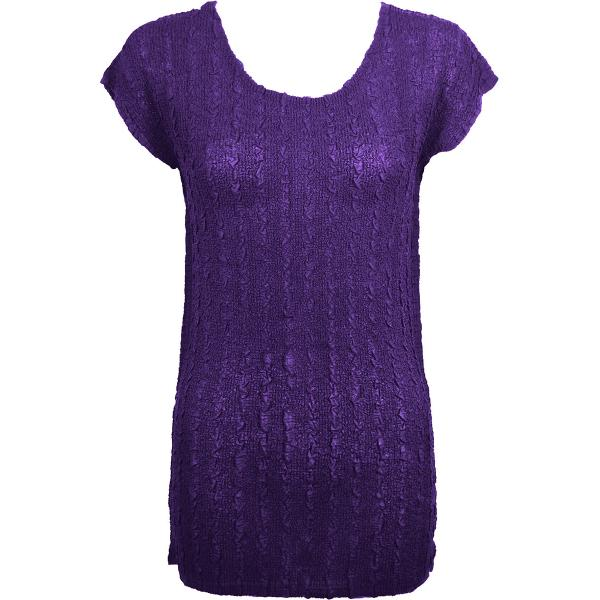 Magic Crush Georgette - Cap Sleeve Tunic* Solid Purple  - ONE SIZE FITS  L-XL)