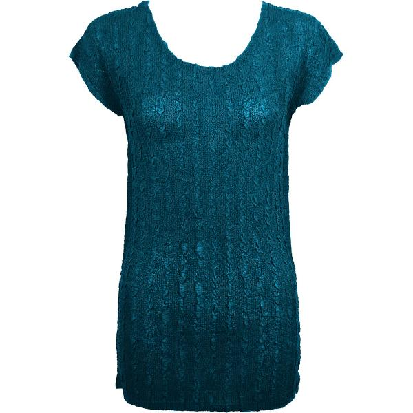 Magic Crush Georgette - Cap Sleeve Tunic* Solid Teal  - ONE SIZE FITS  L-XL)