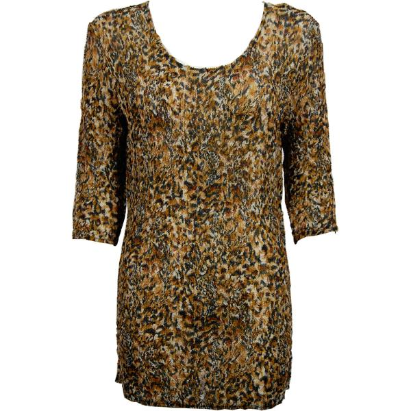 Magic Crush Georgette - Three Quarter Sleeve Tunic Leopard Print - One Size  Fits (S-M)