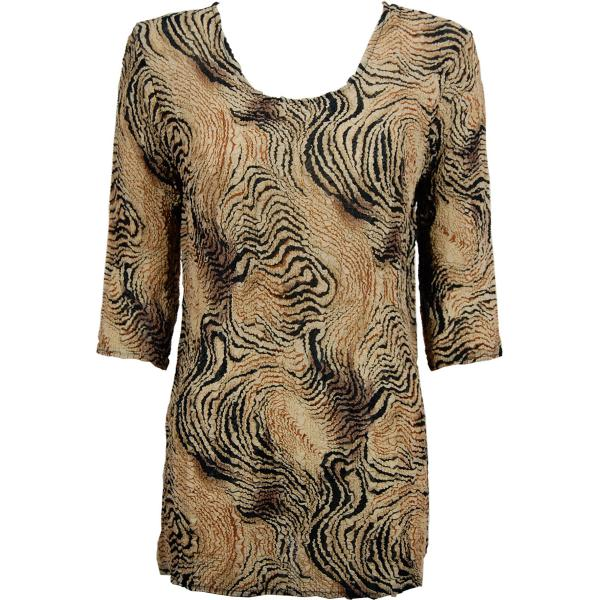 Magic Crush Georgette - Three Quarter Sleeve Tunic Swirl Animal - One Size  Fits (S-M)