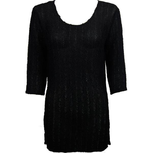wholesale Magic Crush Georgette - Three Quarter Sleeve Tunic Solid Black - ONE SIZE FITS (L-XL)