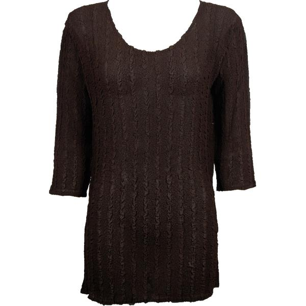 wholesale Magic Crush Georgette - Three Quarter Sleeve Tunic Solid Dark Brown - ONE SIZE FITS (L-XL)