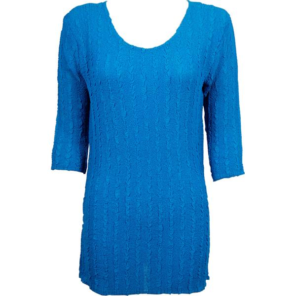 wholesale Magic Crush Georgette - Three Quarter Sleeve Tunic Solid Cornflower Blue  - ONE SIZE FITS (L-XL)