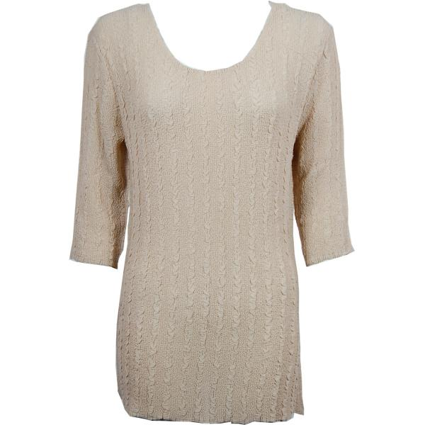 Magic Crush Georgette - Three Quarter Sleeve Tunic Solid Beige  - ONE SIZE FITS (L-XL)