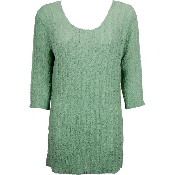 Magic Crush Georgette - Three Quarter Sleeve Tunic Solid Light Moss - ONE SIZE FITS (L-XL)