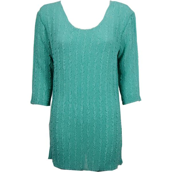 wholesale Magic Crush Georgette - Three Quarter Sleeve Tunic Solid Seafoam - ONE SIZE FITS (L-XL)