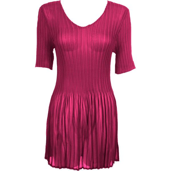 Georgette Mini Pleats - Half Sleeve Tunic Solid Magenta - One Size (S-XL)