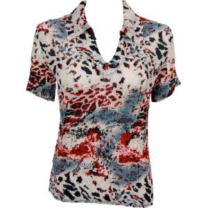 wholesale Magic Crush Georgette - Short Sleeve with Collar*  Reptile Floral - Red - One Size (S-L)
