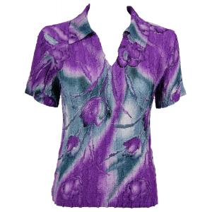 wholesale Magic Crush Georgette - Short Sleeve with Collar*  Tulips Charcoal-Purple - One Size (S-L)