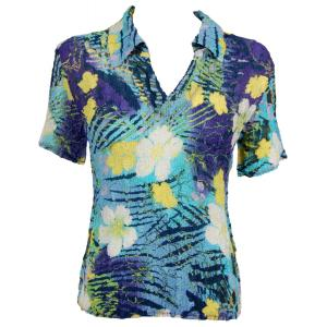 wholesale Magic Crush Georgette - Short Sleeve with Collar*  Blue-Purple Hawaiian - One Size (S-L)