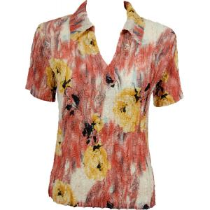 wholesale Magic Crush Georgette - Short Sleeve with Collar*  Roses Mauve-Yellow - One Size (S-L)