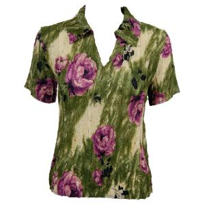 wholesale Magic Crush Georgette - Short Sleeve with Collar*  Roses Olive-Purple - One Size (S-L)