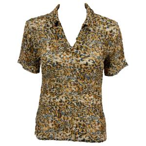 wholesale Magic Crush Georgette - Short Sleeve with Collar*  Leopard Print - One Size (S-L)