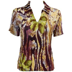 wholesale Magic Crush Georgette - Short Sleeve with Collar*  Abstract Floral - Eggplant-Gold - One Size (S-L)