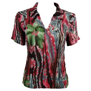 wholesale Magic Crush Georgette - Short Sleeve with Collar*  Abstract Floral - Pink-Green - One Size (S-L)