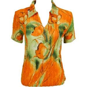 wholesale Magic Crush Georgette - Short Sleeve with Collar*  Tulips Green-Orange - One Size (S-L)