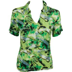 wholesale Magic Crush Georgette - Short Sleeve with Collar*  Abstract Watercolors Lime-Black - One Size (S-L)