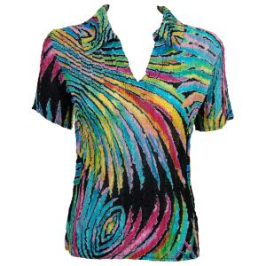 wholesale Magic Crush Georgette - Short Sleeve with Collar*  Rainbow Swirl on Black - One Size (S-L)