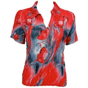 wholesale Magic Crush Georgette - Short Sleeve with Collar*  Tulips Charcoal-Red - One Size (S-L)