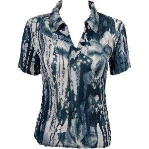 wholesale Magic Crush Georgette - Short Sleeve with Collar*  Abstract Floral - Navy-White - One Size (S-L)