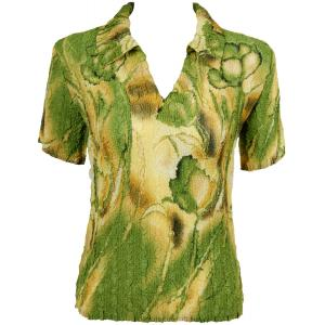 wholesale Magic Crush Georgette - Short Sleeve with Collar*  Tulips Green-Gold - One Size (S-L)