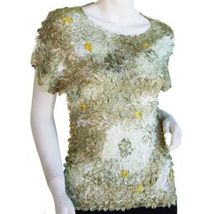wholesale Satin Petal Shirts - Cap Sleeve & Sleeveless Sage Floral - One Size (S-XL)