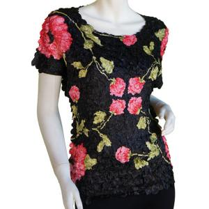wholesale Satin Petal Shirts - Cap Sleeve & Sleeveless Black with Roses - One Size (S-XL)