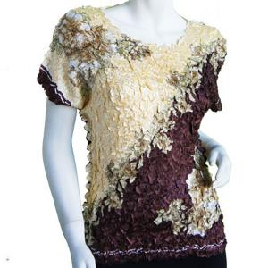 wholesale Satin Petal Shirts - Cap Sleeve & Sleeveless Diagonal Butter-Brown - One Size (S-XL)