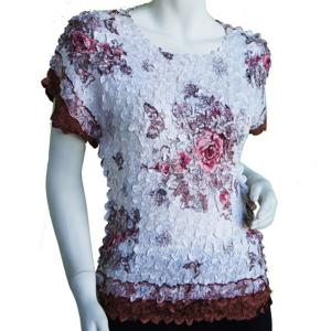 wholesale Satin Petal Shirts - Cap Sleeve & Sleeveless White-Pink-Tan Floral - One Size (S-XL)