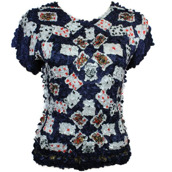 wholesale Satin Petal Shirts - Cap Sleeve & Sleeveless Playing Cards on Navy - One Size (S-XL)