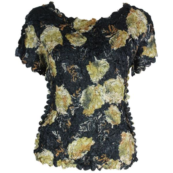 wholesale Satin Petal Shirts - Cap Sleeve & Sleeveless Black w/ Gold Leaves - One Size (S-XL)
