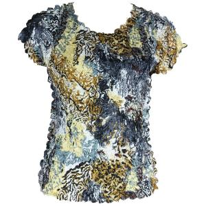 wholesale Satin Petal Shirts - Cap Sleeve & Sleeveless Abstract Black-Gold - One Size (S-XL)
