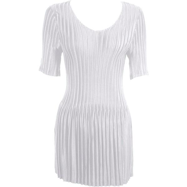 Satin Mini Pleats - Half Sleeve Tunic Solid White - One Size (S-XL)