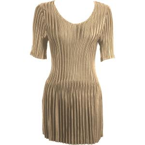wholesale Satin Mini Pleats - Half Sleeve Tunic Solid Champagne - One Size (S-XL)