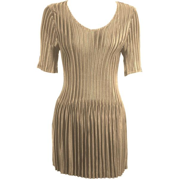 Satin Mini Pleats - Half Sleeve Tunic Solid Champagne - One Size (S-XL)