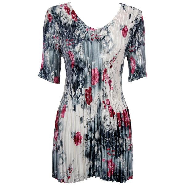 Satin Mini Pleats - Half Sleeve Tunic White-Black-Pink Floral - One Size (S-XL)