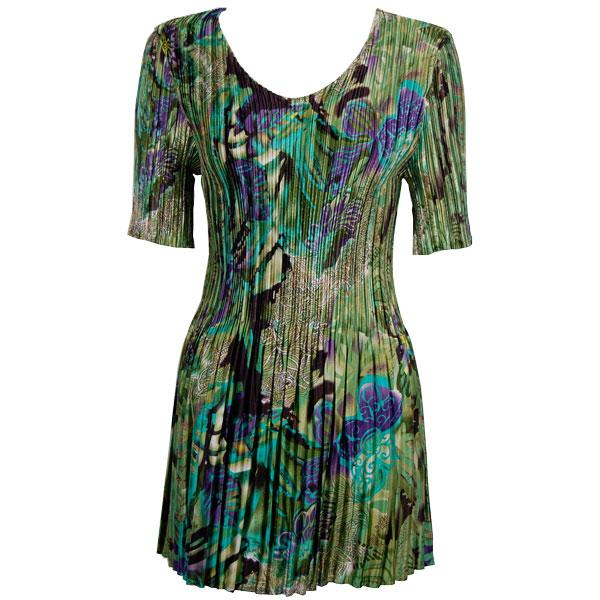 Satin Mini Pleats - Half Sleeve Tunic Butterfly Floral Green-Purple - One Size (S-XL)