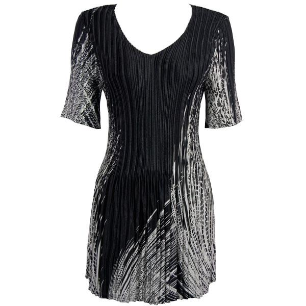 Satin Mini Pleats - Half Sleeve Tunic Lines - White on Black - One Size (S-XL)