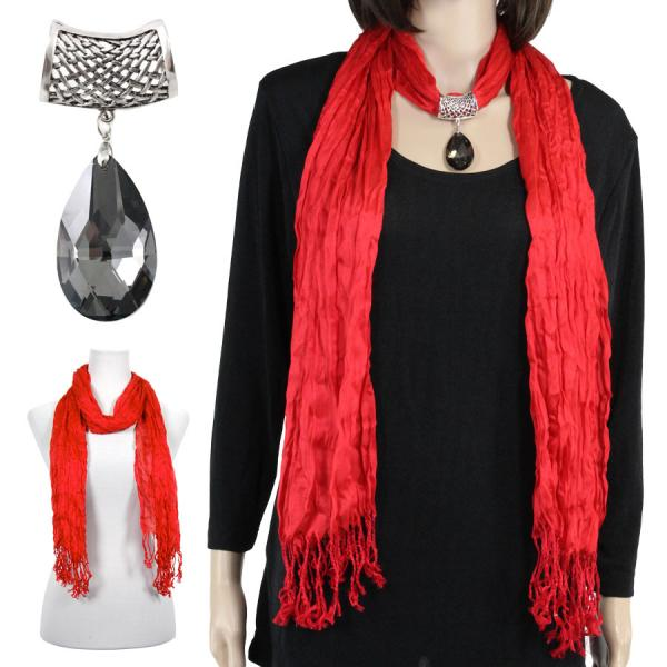 wholesale Oblong Scarves - Crinkle 3081 w/ Pendant* Red w/ Pendant #131 -