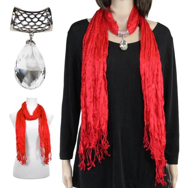 wholesale Oblong Scarves - Crinkle 3081 w/ Pendant* Red w/ Pendant #075 -