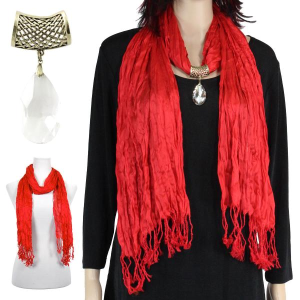 wholesale Oblong Scarves - Crinkle 3081 w/ Pendant* Red w/ Pendant #566 -
