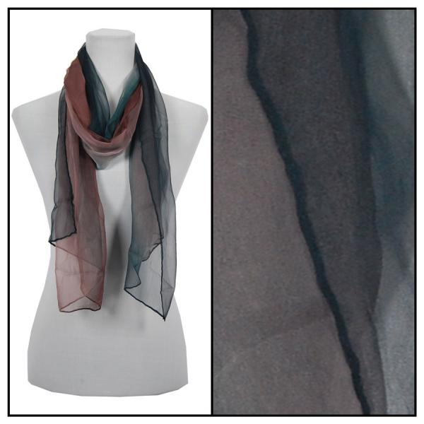 wholesale Oblong Scarves - Silk Ombre 005* Black-Teal-Brown -