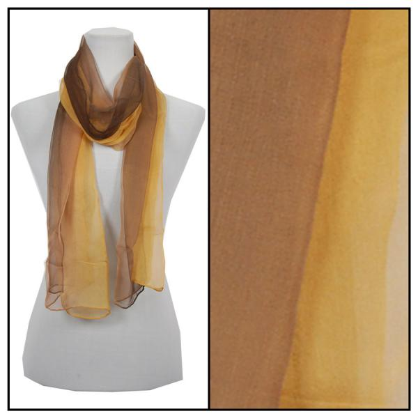 wholesale Oblong Scarves - Silk Ombre 005* Brown-Gold -