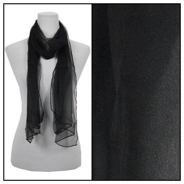 wholesale Oblong Scarves - Silk Ombre 005* Solid Black -