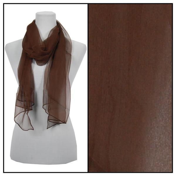 wholesale Oblong Scarves - Silk Ombre 005* Solid Brown -