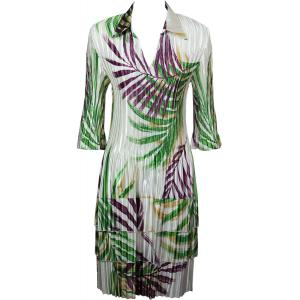 Wholesale  Palm Leaf Green-Purple Satin Mini Pleat - Three Quarter w/ Collar Dress -