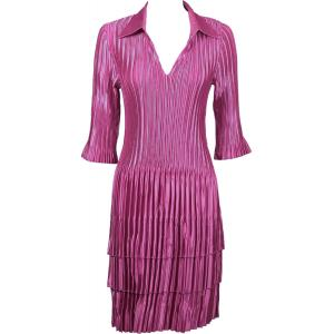 Wholesale  Solid Orchid Satin Mini Pleat - Three Quarter w/ Collar Dress -
