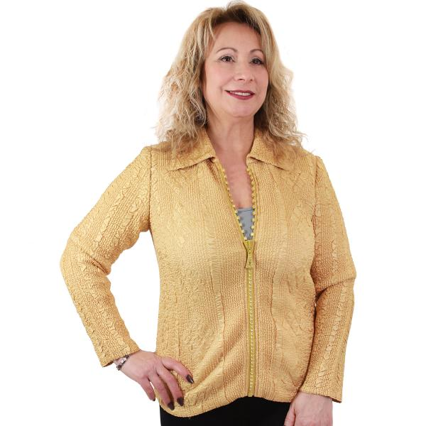 Wholesale Diamond Zipper Jackets Light Gold - Plus Size (XL-2X)